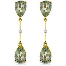Genuine 6.01 ctw Green Amethyst & Diamond Earrings Jewelry 14KT Yellow Gold - REF-42T4A