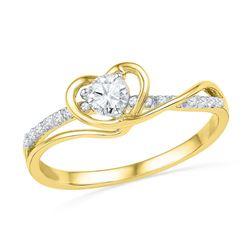 0.25 CTW Diamond Heart Love Promise Bridal Ring 10KT Yellow Gold - REF-28M4H