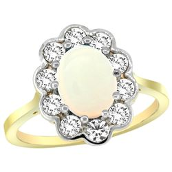 Natural 1.64 ctw Opal & Diamond Engagement Ring 14K Yellow Gold - REF-81A3V