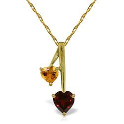 Genuine 1.40 ctw Garnet & Citrine Necklace Jewelry 14KT Yellow Gold - REF-23K8V