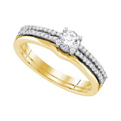 0.50 CTW Diamond Double Row Bridal Wedding Engagement Ring 14KT Yellow Gold - REF-82X4Y