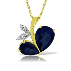 Genuine 5.36 ctw Sapphire & Diamond Necklace Jewelry 14KT Yellow Gold - REF-84T3A