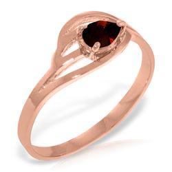 Genuine 0.30 CTW Garnet Ring Jewelry 14KT Rose Gold - REF-30X5M