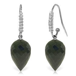 Genuine 24.68 ctw Black Spinel & Diamond Earrings Jewelry 14KT White Gold - REF-50K5V