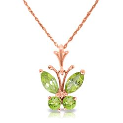 Genuine 0.60 ctw Peridot Necklace Jewelry 14KT Rose Gold - REF-23R5P
