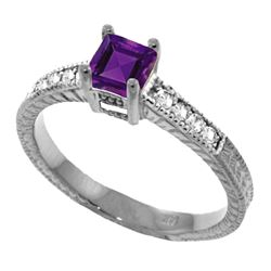 Genuine 0.65 ctw Amethyst & Diamond Ring Jewelry 14KT White Gold - REF-69F6Z