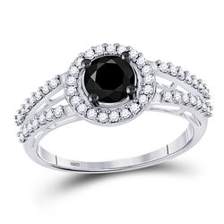 1.06 CTW Black Color Diamond Solitaire Bridal Ring 10KT White Gold - REF-34H4M