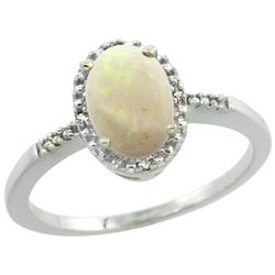 Natural 0.73 ctw Opal & Diamond Engagement Ring 14K White Gold - REF-22G9M