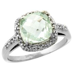 Natural 3.92 ctw Green-amethyst & Diamond Engagement Ring 14K White Gold - REF-35Y2X