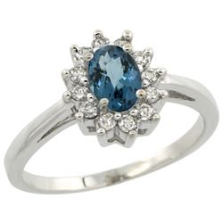 Natural 0.67 ctw London-blue-topaz & Diamond Engagement Ring 10K White Gold - REF-38F9N