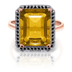 Genuine 5.8 ctw Citrine & Black Diamond Ring Jewelry 14KT Rose Gold - REF-79R8P
