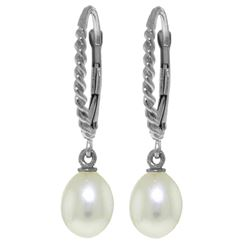 Genuine 8 ctw Pearl Earrings Jewelry 14KT White Gold - REF-22Z5N