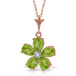 Genuine 2.22 ctw Peridot & Diamond Necklace Jewelry 14KT Rose Gold - REF-30T2A