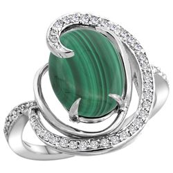 Natural 5.03 ctw malachite & Diamond Engagement Ring 14K White Gold - REF-66H2W
