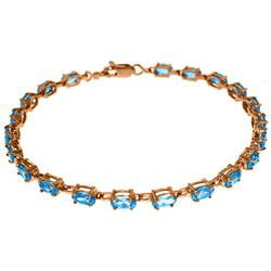 Genuine 5.5 ctw Blue Topaz Bracelet Jewelry 14KT Rose Gold - REF-96V4W