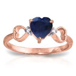 Genuine 1.01 ctw Sapphire & Diamond Ring Jewelry 14KT Rose Gold - REF-43M2T