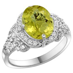 Natural 2.92 ctw lemon-quartz & Diamond Engagement Ring 14K White Gold - REF-101W5K