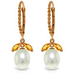Genuine 9 ctw Citrine & Pearl Earrings Jewelry 14KT Rose Gold - REF-39Z3N