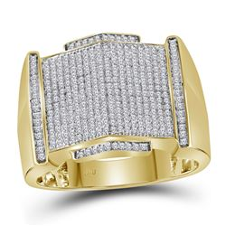 0.64 CTW Mens Diamond Pointed Symmetrical Cluster Ring 10KT Yellow Gold - REF-89H9M