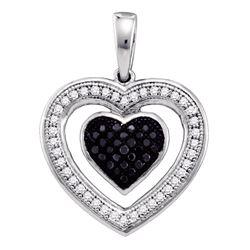 0.20 CTW Black Color Diamond Heart Love Anniversary Pendant 10KT White Gold - REF-19K4W