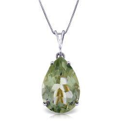 Genuine 5 ctw Green Amethyst Necklace Jewelry 14KT White Gold - REF-30F3Z