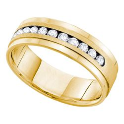 1 CTW Mens Channel-set Diamond Single Row Wedding Ring 14KT Yellow Gold - REF-187W4K