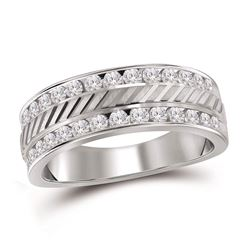 1 CTW Mens Channel-set Diamond Double Row Grecco Ring 14KT White Gold - REF-112F5N