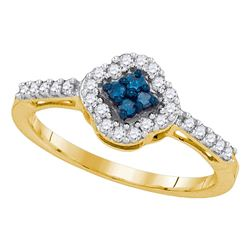 0.30 CTW Blue Color Diamond Diagonal Square Cluster Ring 10KT Yellow Gold - REF-22X4Y