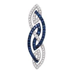 0.25 CTW Color Blue Diamond Fashion Charm Pendant 10KT White Gold - REF-25X4Y