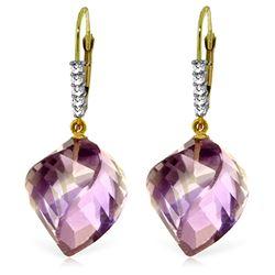 Genuine 21.65 ctw Amethyst & Diamond Earrings Jewelry 14KT Yellow Gold - REF-57A6K