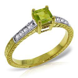 Genuine 0.65 ctw Peridot & Diamond Ring Jewelry 14KT Yellow Gold - REF-69Y6F