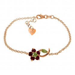 Genuine 0.87 ctw Peridot & Ruby Bracelet Jewelry 14KT Rose Gold - REF-52A2K