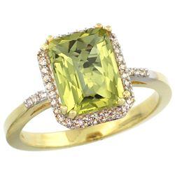 Natural 2.63 ctw Lemon-quartz & Diamond Engagement Ring 10K Yellow Gold - REF-31Y9X