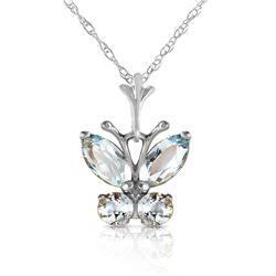 Genuine 0.60 ctw Aquamarine Necklace Jewelry 14KT White Gold - REF-25Z2N