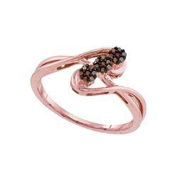 0.07 CTW Red Color Diamond Cluster Ring 10KT Rose Gold - REF-14H9M
