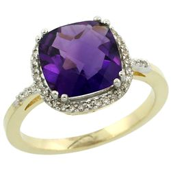 Natural 4.11 ctw Amethyst & Diamond Engagement Ring 14K Yellow Gold - REF-44H2W