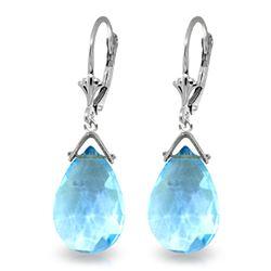 Genuine 10.20 ctw Blue Topaz Earrings Jewelry 14KT White Gold - REF-28Z9N