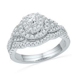0.75 CTW Diamond Double Halo Bridal Engagement Ring 10KT White Gold - REF-79K4W