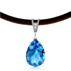 Genuine 6.01 ctw Blue Topaz & Diamond Necklace Jewelry 14KT White Gold - REF-32F3Z