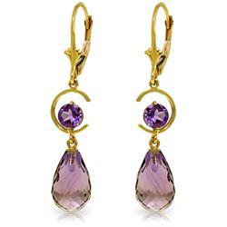 Genuine 11 ctw Amethyst Earrings Jewelry 14KT Yellow Gold - REF-46P7H