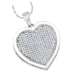 0.50 CTW Diamond Heart Love Pendant 10KT White Gold - REF-44W9K