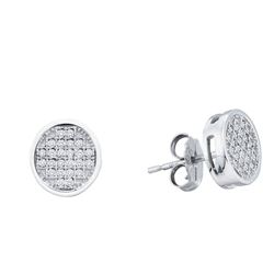 0.14 CTW Diamond Circle Cluster Earrings 10KT White Gold - REF-16N4F
