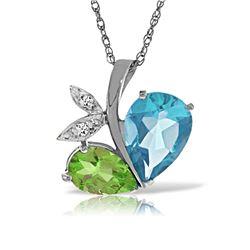 Genuine 5.26 ctw Blue Topaz, Peridot & Diamond Necklace Jewelry 14KT White Gold - REF-60Y7F