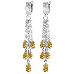 Genuine 7.3 ctw Citrine Earrings Jewelry 14KT White Gold - REF-62H3X