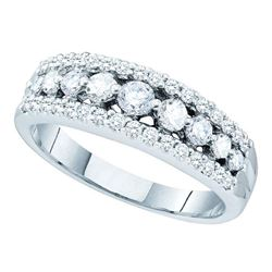 0.75 CTW Pave-set Diamond Triple Row Ring 14KT White Gold - REF-89M9H