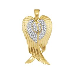 0.33 CTW Mens Diamond Angel Wings Charm Pendant 10KT Yellow Gold - REF-44F9N