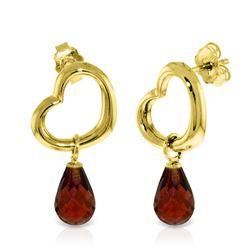 Genuine 4.5 ctw Garnet Earrings Jewelry 14KT Yellow Gold - REF-42H6X