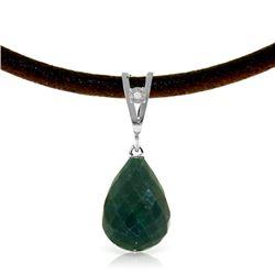 Genuine 15.51 ctw Green Sapphire Corundum & Diamond Necklace Jewelry 14KT White Gold - REF-30V2W