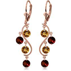 Genuine 4.6 ctw Garnet & Citrine Earrings Jewelry 14KT Rose Gold - REF-53N4R