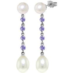 Genuine 11 ctw Pearl & Tanzanite Earrings Jewelry 14KT White Gold - REF-34F3Z